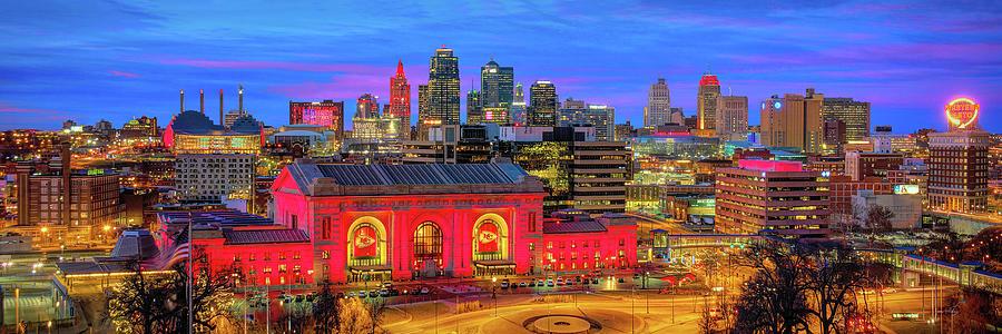 Kansas City Skyline DUSK KC Union Station Chiefs Red Panoramic by Jon Holiday