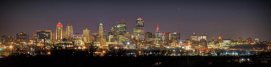 Kansas City Skyline Night From North Kc Chiefs Red Chiefskingdom Panoramic Photograph