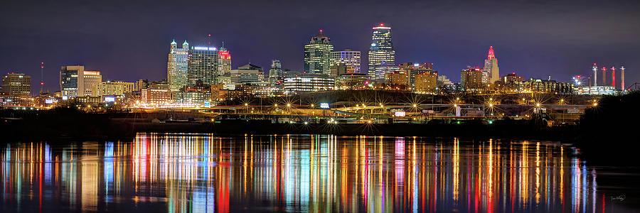 Kansas City Skyline Night Kc Missouri River Chiefs Red Chiefskingdom Panoramic Photograph