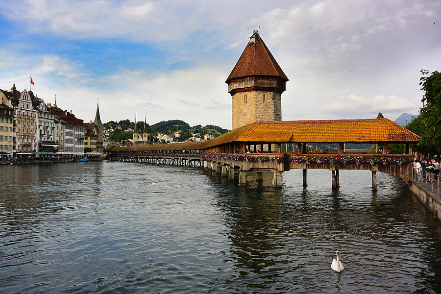 Lucerne Photograph - Kapellbrucke - Chapel Bridge of Lucerne by Two Small Potatoes