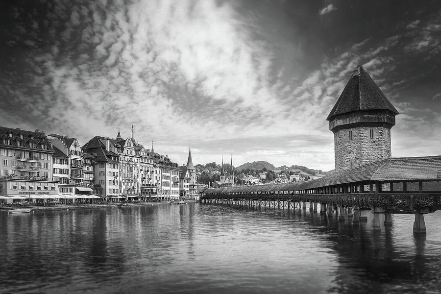 Kappelbrucke And Old Town Lucerne Switzerland Black And White Photograph