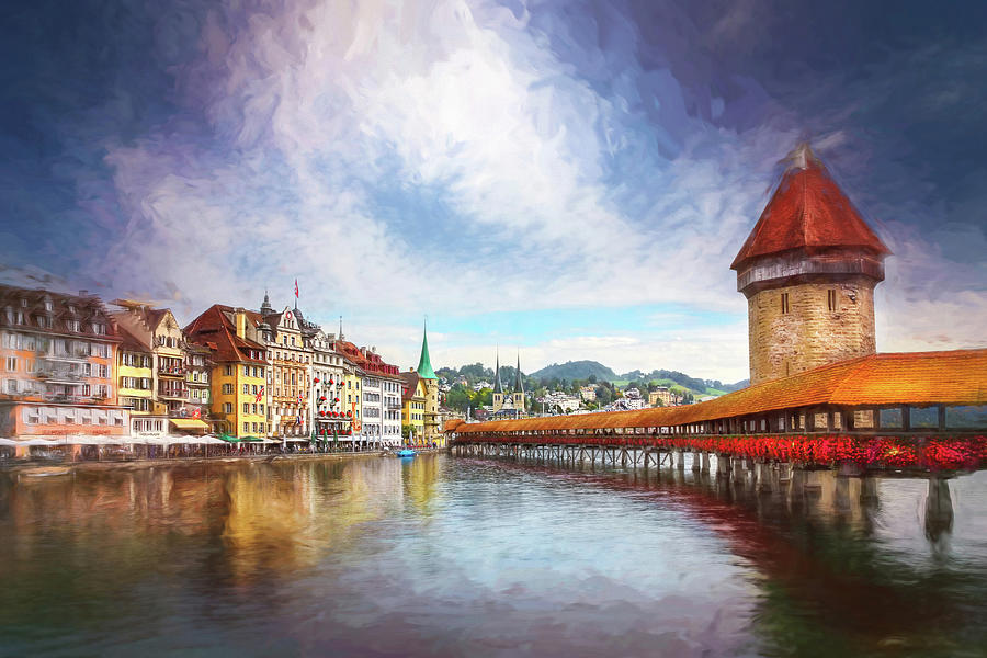 Kappelbrucke And Old Town Lucerne Switzerland Painterly Photograph