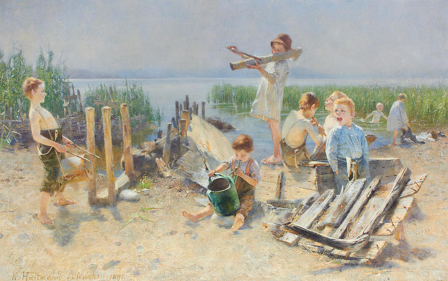 Karl Hartmann German 1861 1927 Al Fresco Concert Painting