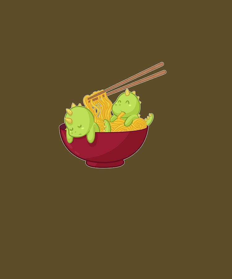 Kawaii Digital Art - Kawaii Anime Japanese Ramen Noodles Dinosaur T Rex Gift Pullover Hoodie by Unique Tees