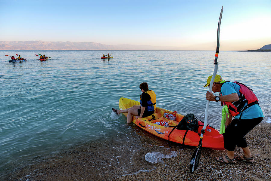 Kayaks at the Dead Sea by Dubi Roman