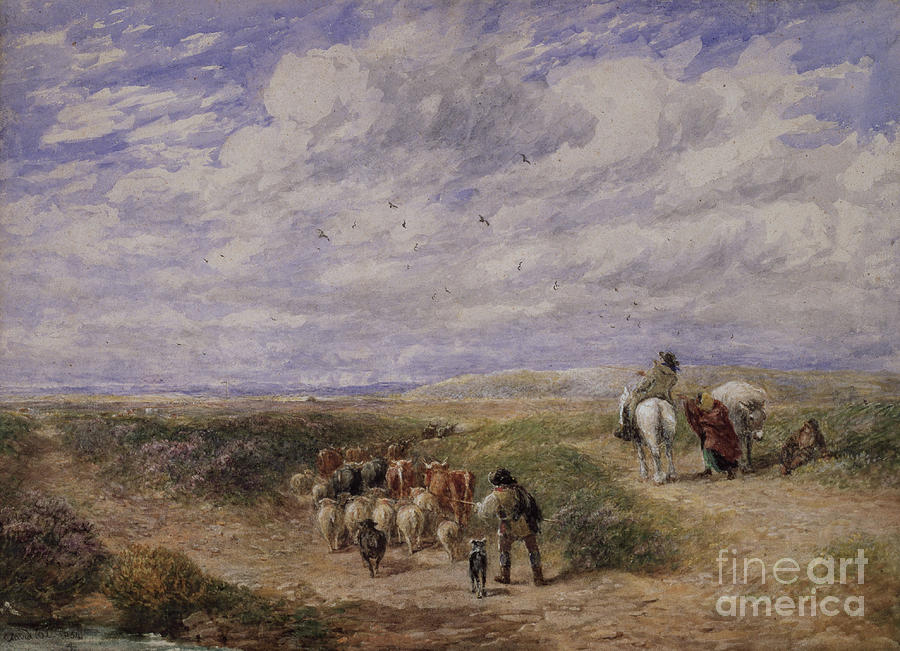 1854 Painting - Keep The Left Road, 1854 by David Cox