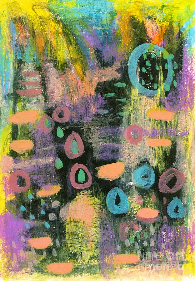 Yellow Painting - Keeping the Faith 1 Abstract Landscape Flowers by Itaya Lightbourne