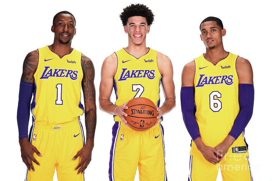 Kentavious Caldwell-pope, Jordan Clarkson, and Lonzo Ball Photograph by Andrew D. Bernstein