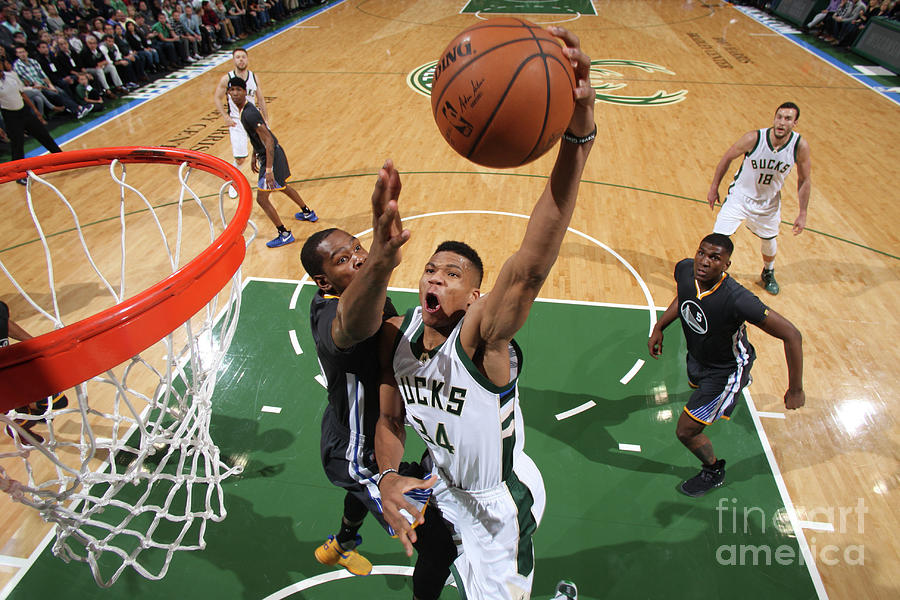 Kevin Durant and Giannis Antetokounmpo Photograph by Gary Dineen