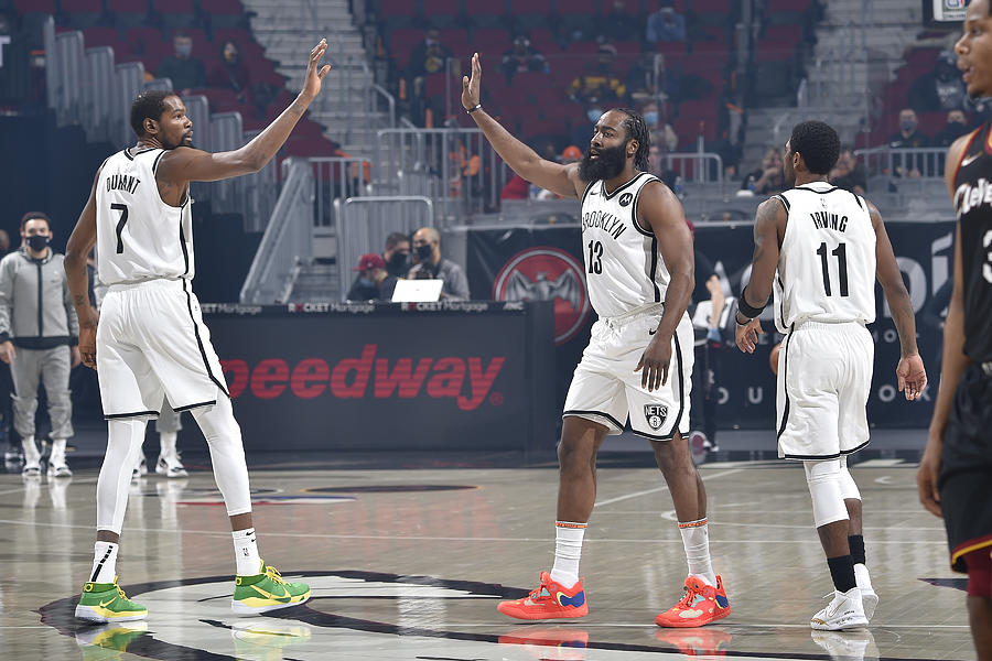 Kevin Durant, Kyrie Irving, and James Harden Photograph by David Liam Kyle