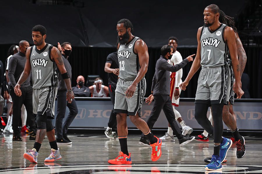 Kevin Durant, Kyrie Irving, and James Harden Photograph by Nathaniel S. Butler
