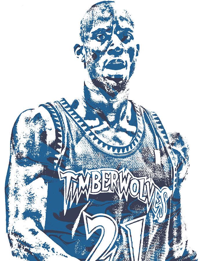 Kevin Garnett MINNESOTA TIMBERWOLVES PIXEL ART 1 by Joe Hamilton