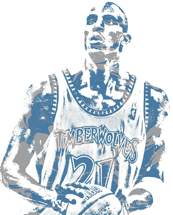 Kevin Garnett Mixed Media - Kevin Garnett Minnesota Timberwolves Pixel Art 3 by Joe Hamilton