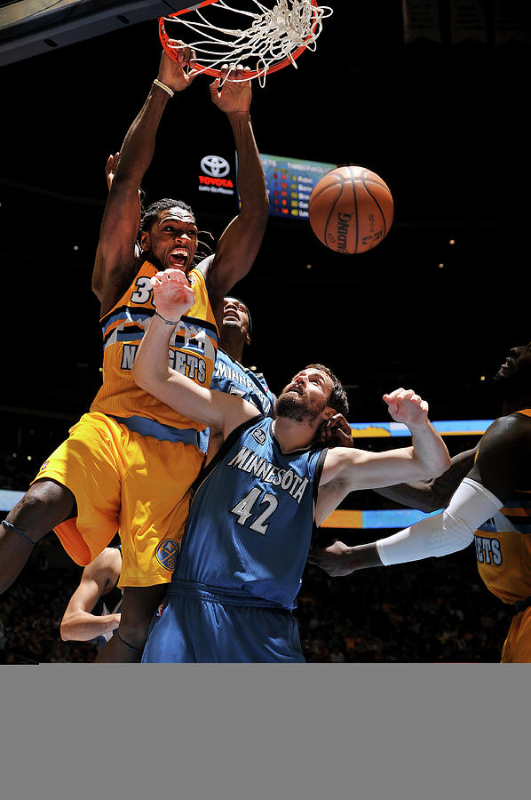 Kevin Love and Kenneth Faried Photograph by Bart Young