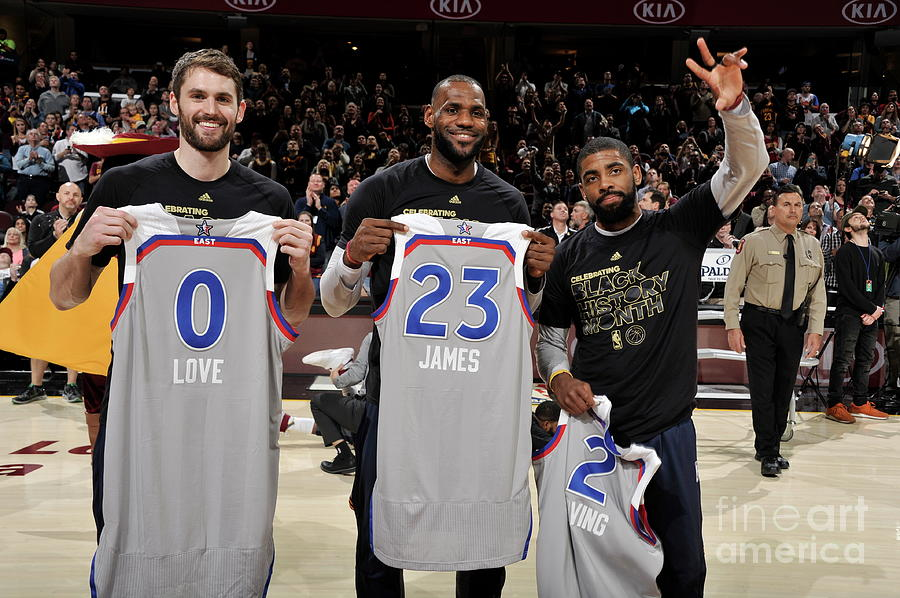 Kevin Love, Kyrie Irving, and Lebron James Photograph by David Liam Kyle