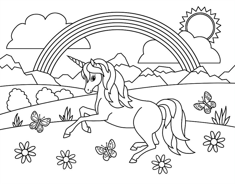 Kids Rainbow Unicorn Coloring Page Painting by Crista Forest
