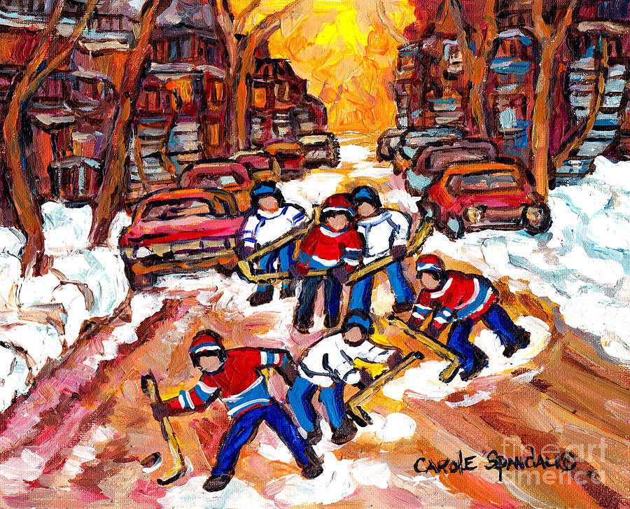 KIDS ROAD HOCKEY FUN MONTREAL WINTER SCENE NEIGHBORHOOD AFTER THE SNOW C SPANDAU CANADIAN ARTIST  by CAROLE SPANDAU