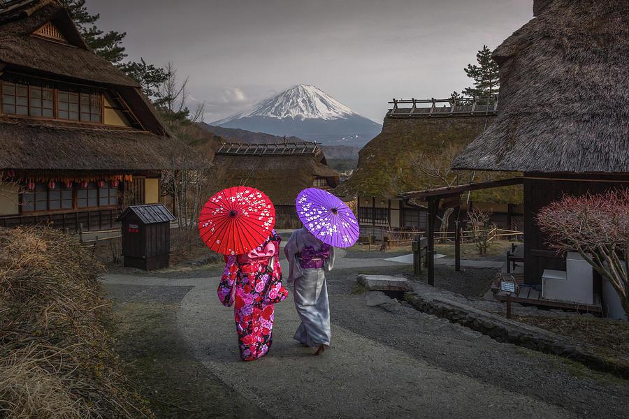 Kimono and Mount Fuji by Francis Ansing