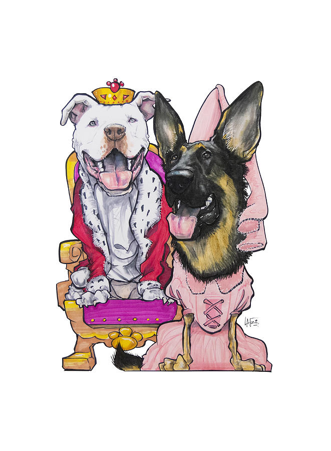 King Pit Bull And Queen German Shepherd Drawing