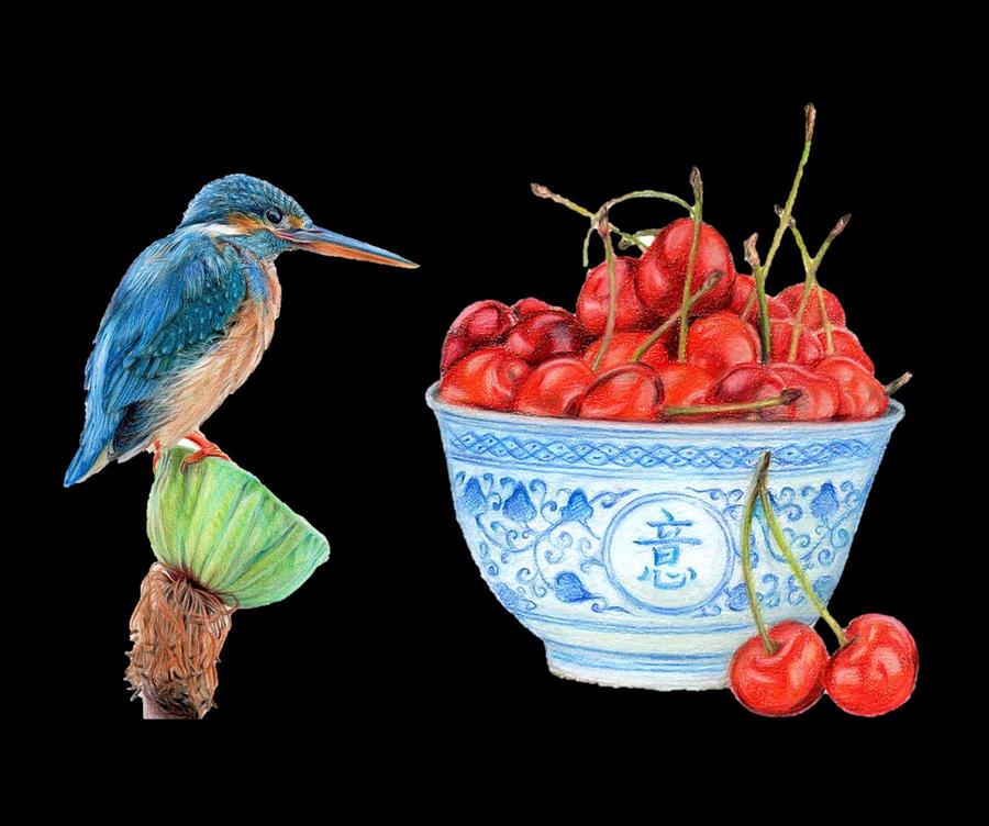 Kingfisher And Cherries Digital Art