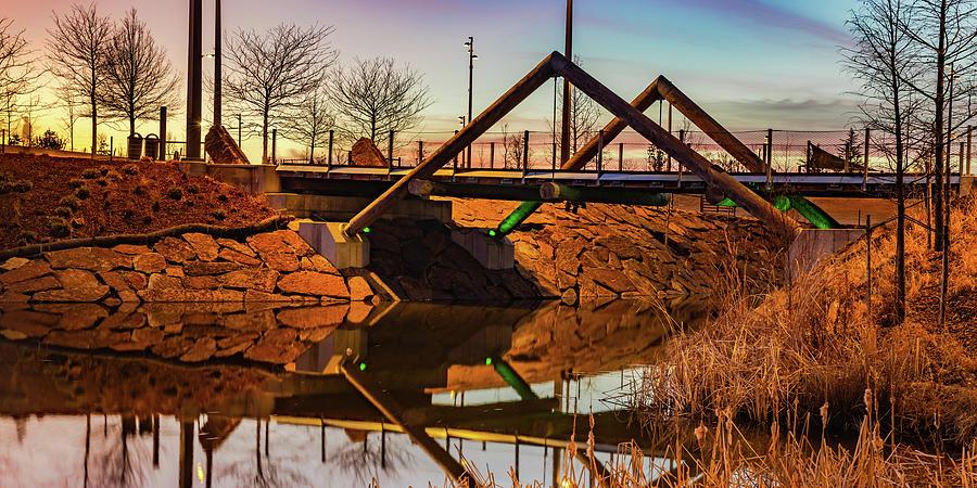 Kings Post Bridge Dusk Panorama - Tulsa Gathering Place Photograph