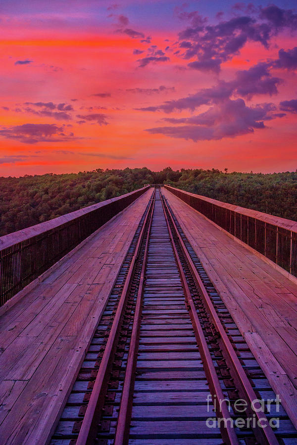 Kinzua Bridge Skywalk Sunset Vertical Digital Art