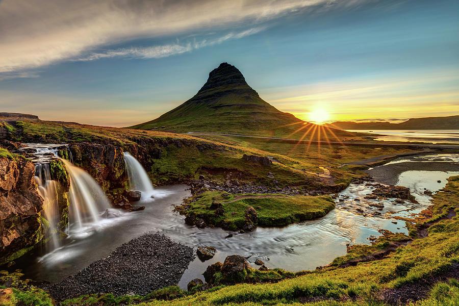 Kirkjufell Mountain And Waterfall At Sunrise Photograph