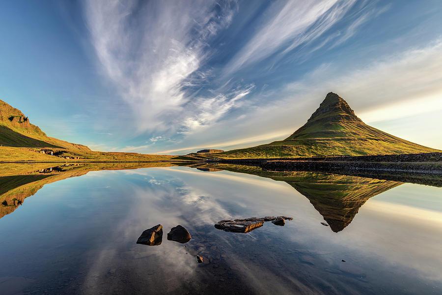 Kirkjufell Sky Reflection Iceland Photograph