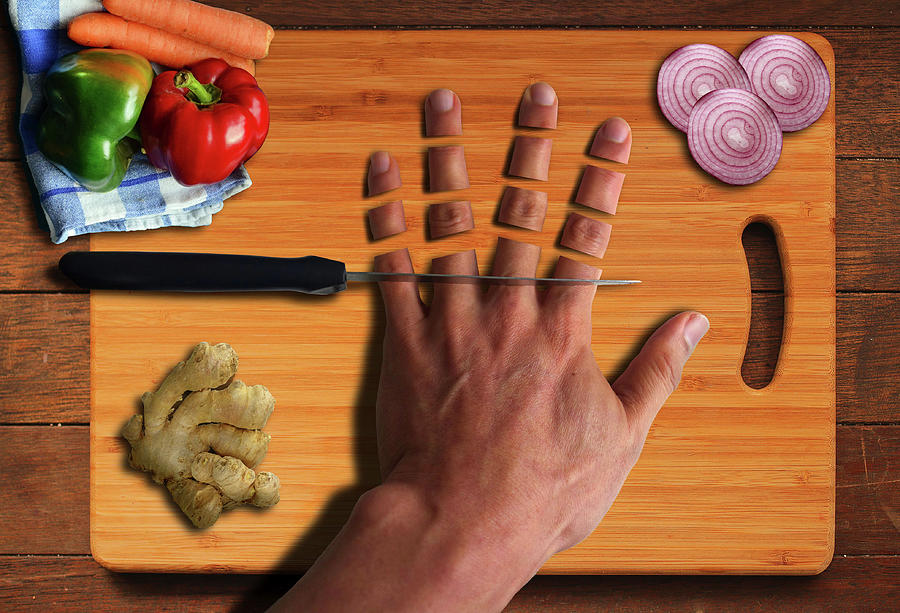 Kitchen Cooking With Vegetables And Chopped Hand Surreal Digital Art