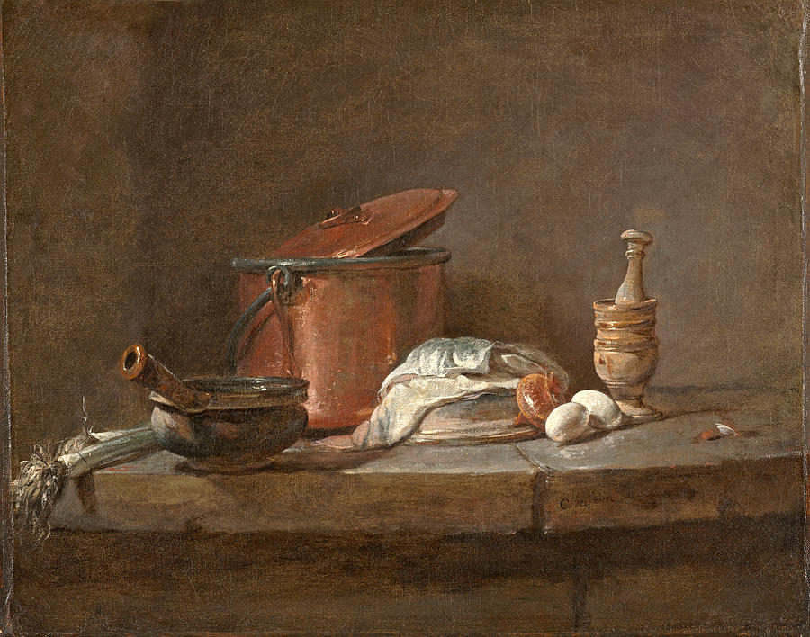 Kitchen Utensils with Leeks, Fish, and Eggs by Jean-Simeon Chardin