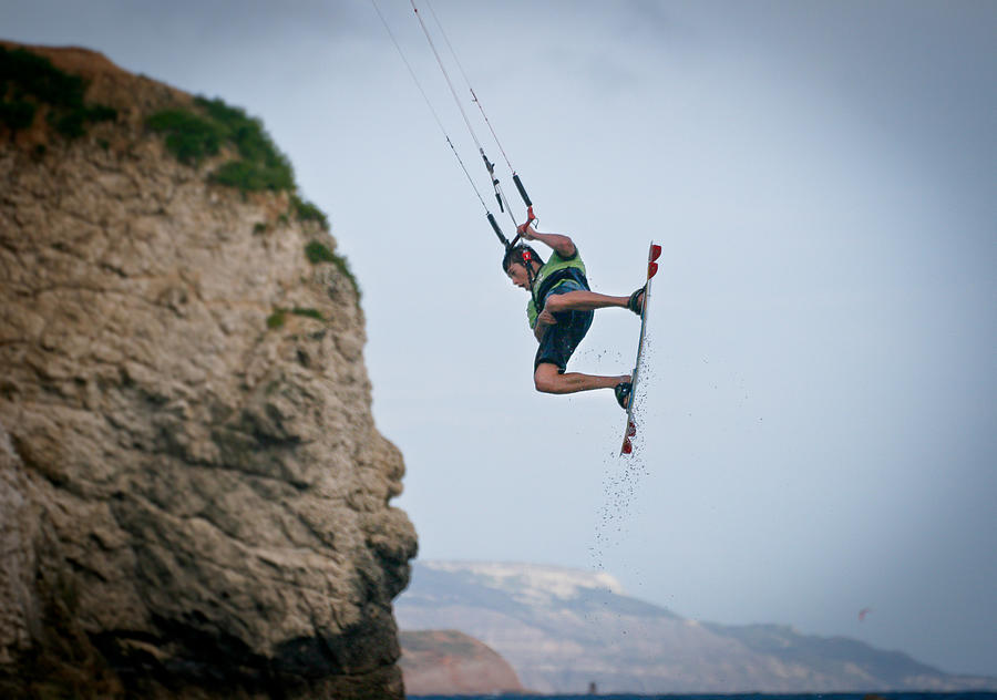 Kite surfing, Freshwater Bay, Isle of Wight Photograph by s0ulsurfing - Jason Swain