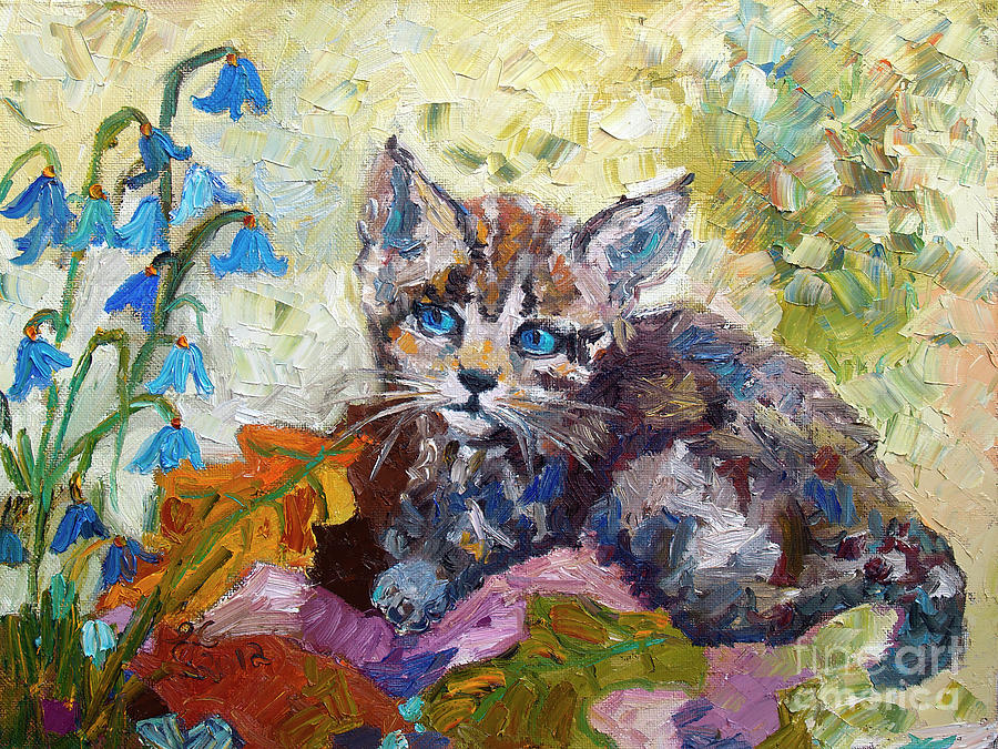 Kitten in Bluebells Palette Knife Painting Painting by Ginette Callaway