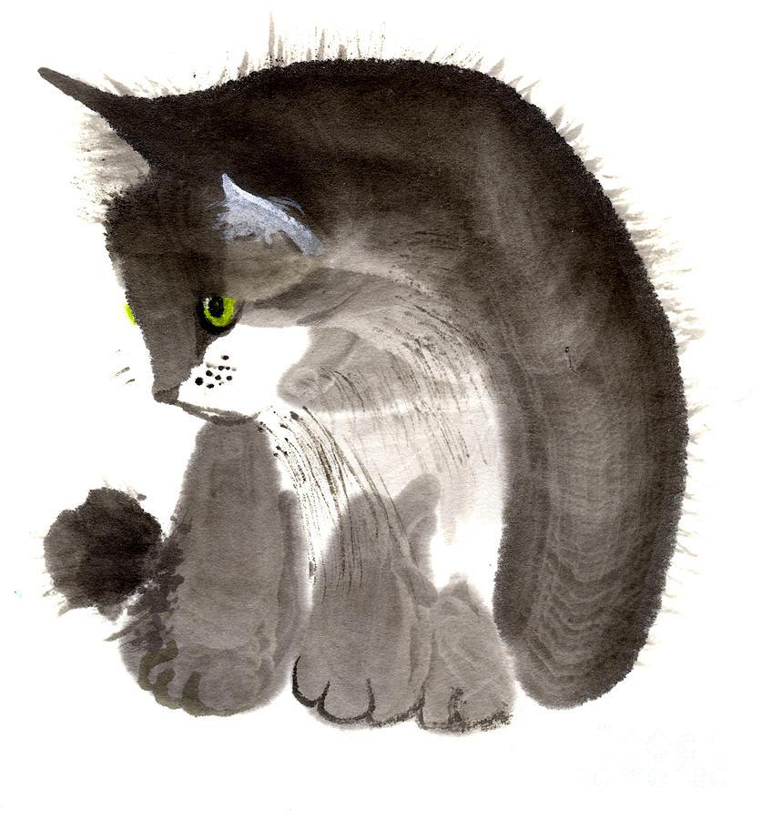 Kitten Painting by Mui-Joo Wee
