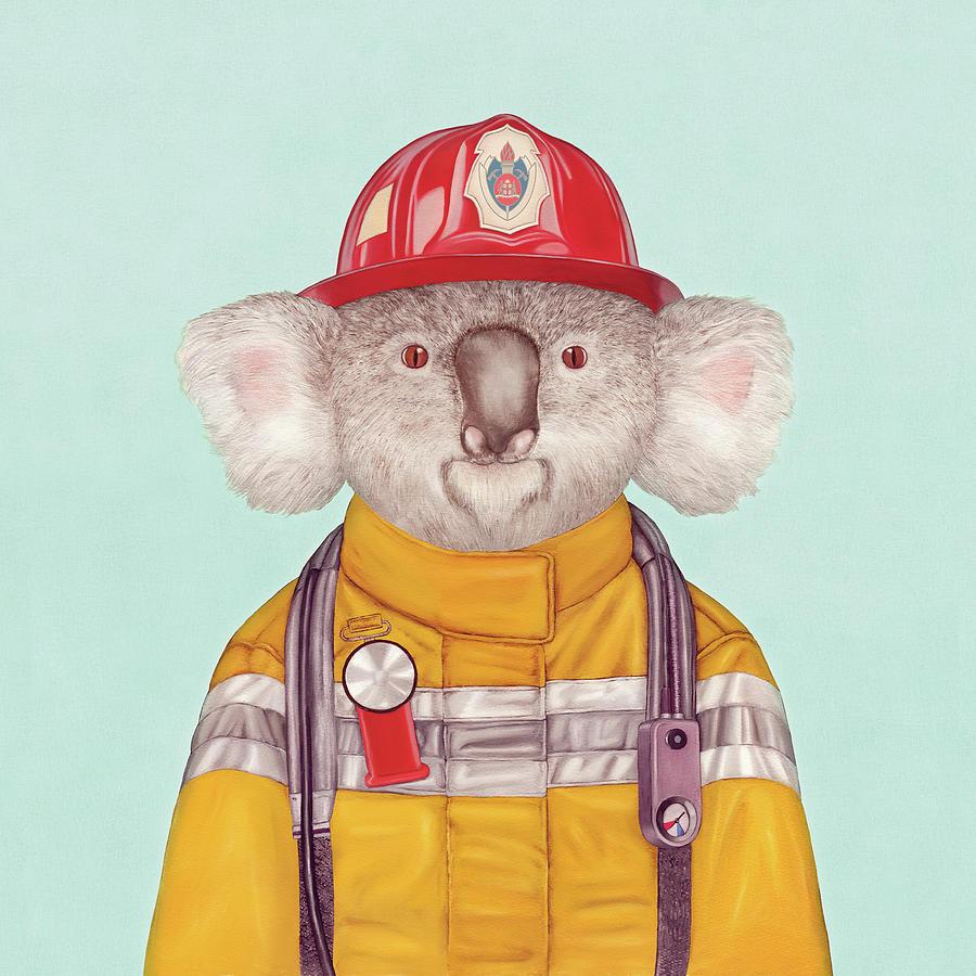 Koala Firefighter Painting by Animal Crew