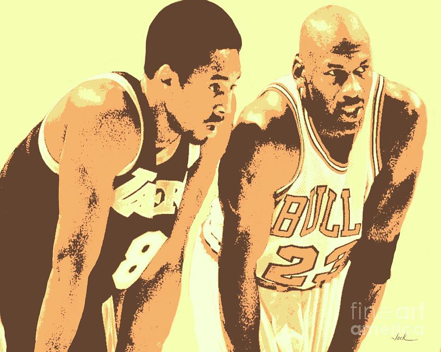 Kobe Bryant Painting - Kobe And Michael by Jack Bunds