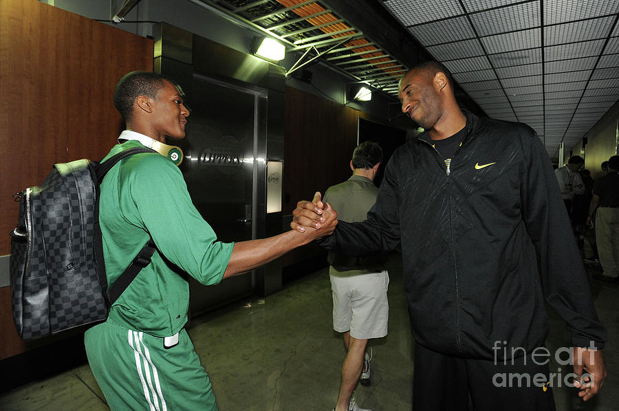 Kobe Bryant and Rajon Rondo Photograph by Andrew D. Bernstein