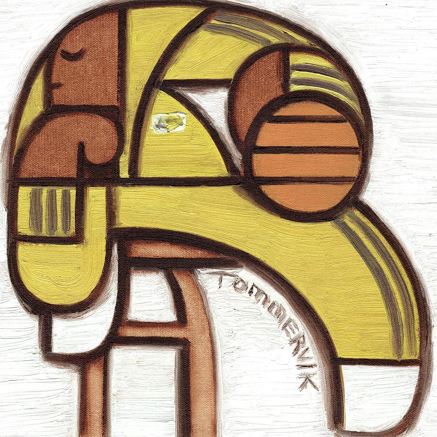 Kobe Bryant Painting - Kobe Bryant Thinking Art Print by Tommervik