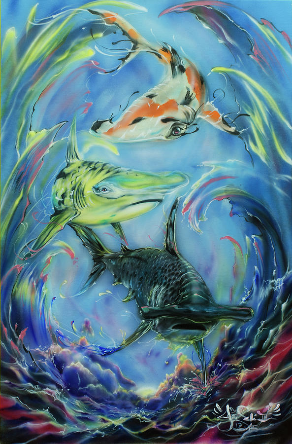 Koi Pond Painting by Joel Salinas III
