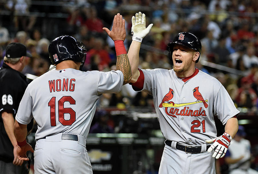 Kolten Wong and Brandon Moss Photograph by Norm Hall