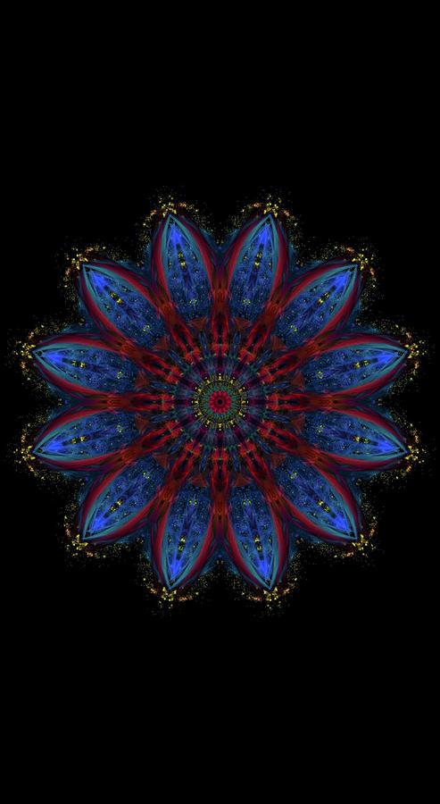 Kosmic Blue Ice Burst Mandala Digital Art by Michael Canteen