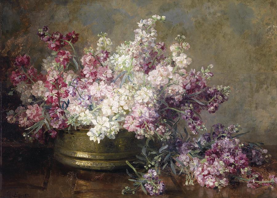 Flowers Painting -  Kupferschale mit weissen und rosa Blumen gefullt by Marie Egner