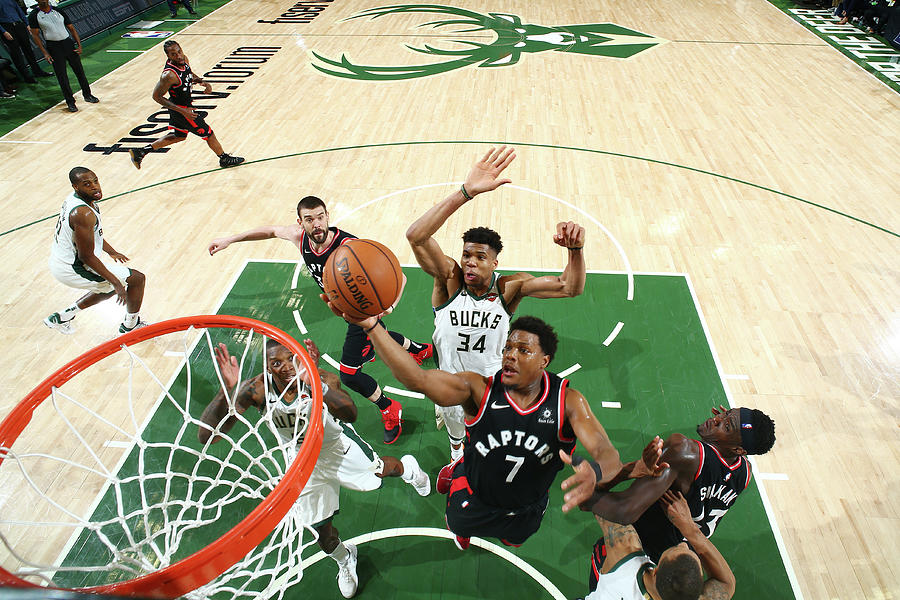 Kyle Lowry and Giannis Antetokounmpo Photograph by Nathaniel S. Butler