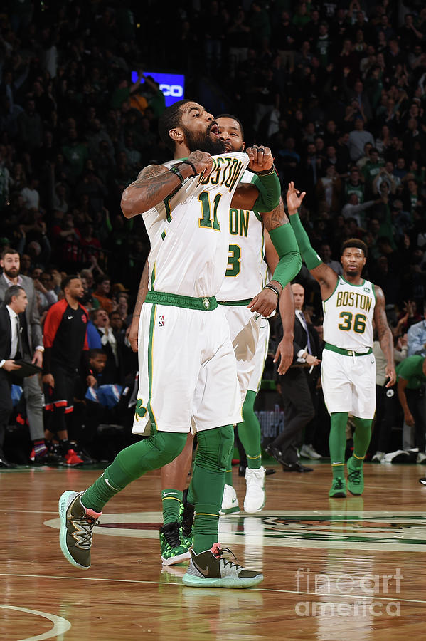 Kyrie Irving and Marcus Morris Photograph by Brian Babineau