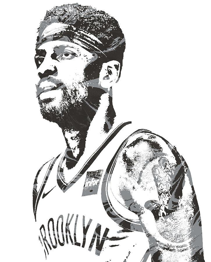 Kyrie Irving Mixed Media - Kyrie Irving Brooklyn Nets Pixel Art 10 by Joe Hamilton