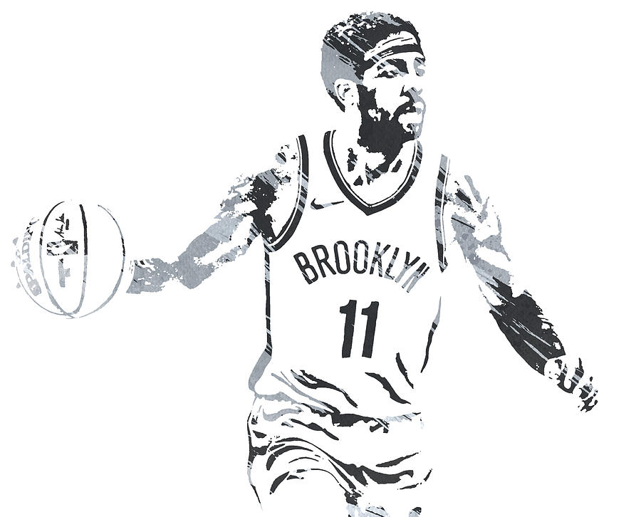 KYRIE IRVING BROOKLYN NETS WATERCOLOR STROKES PIXEL ART 1 by Joe Hamilton