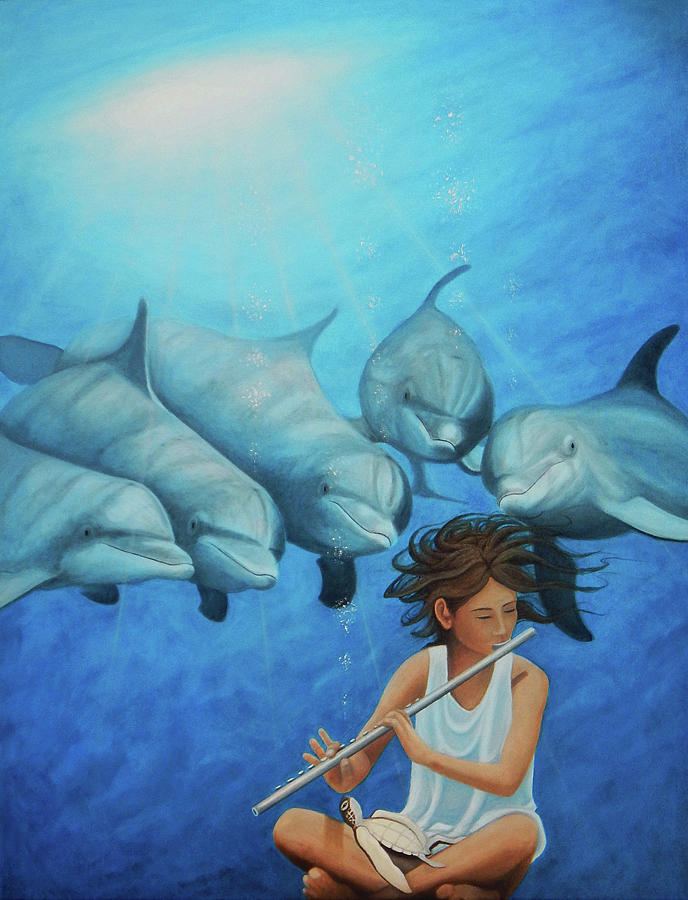 Dolphins Painting - LA FLAUTISTA Version 2 by Angel Ortiz