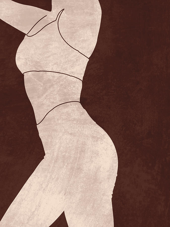 Aesthetique - Female Figure - Minimal Contemporary Abstract 01 Mixed Media
