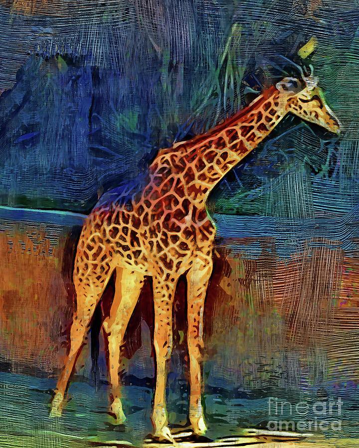 Giraffe Digital Art - LA Zoo Giraffe by Kirt Tisdale