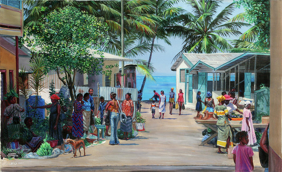 Market Scene Painting - Laborie Market by Jonathan Guy-Gladding JAG