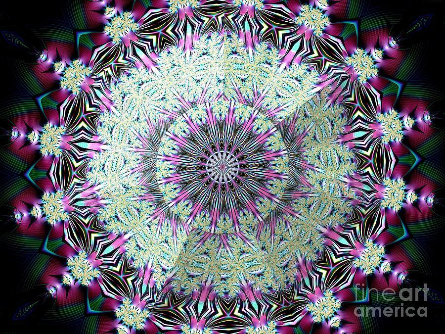 Lacy Bejeweled Snowflake Under Glass Fractal Mandala Kaleidoscope Abstract Digital Art